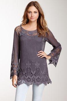 Crochet Long Sleeve Tunic by Meghan Fabulous on @HauteLook
