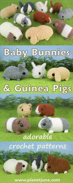 Super-cute life-sized baby bunnies and guinea pigs to crochet. Who can resist these realistic palm-sized cuties?