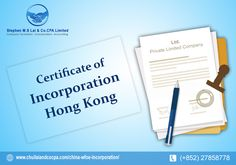 chuilai and cocpa provide a certificate of incorporation in Hong Kong.