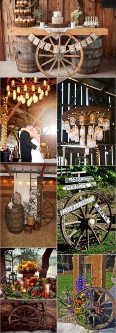 Rustic Country Wagon Wheel Wedding Ideas / http://www.deerpearlflowers.com/rustic-country-wagon-wheel-wedding-ideas/2/