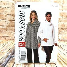 Butterick 6366 Womens Plus Size Hi Low Tunic Shirt Sz 8 24 Uncut Sewing Pattern #Butterick #Tunic