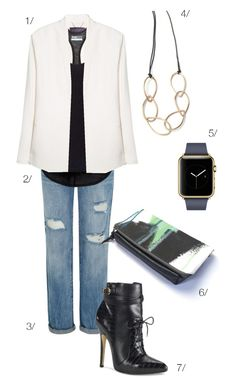 street style inspired: white blazer, high heeled ankle boots, apple watch, clutch // click for outfit details