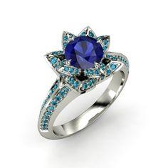 The Brilliant Lotus Ring #customizable #jewelry #sapphire #Londonbluetopaz #gold #ring