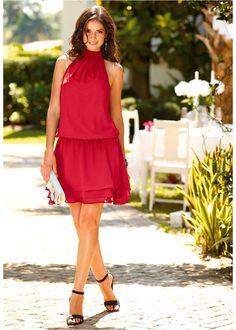 #Vestido Gola Alta #BonPrix Vestido Casual, Ideias Fashion, Sexy, Look, Summer Dresses, Princess, High Collar Dress, Red Gown Dress, Productivity