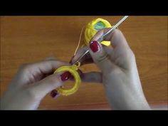 Tutorial rivestire un cerchio con l'uncinetto( Orecchino sole ) - YouTube