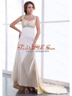 Beading and Ruching Decorate Bodice Champagne Watteau Train Straps Elastic Woven Satin 2013 Prom Dress- $149.66  http://www.fashionos.com   | pretty mother of the bride dress | how to find my dama dress | stores to get celebrity dresses | allure celebrity dresses | vintage cocktail dresses | elaine c smith dress |