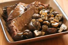 Stove-top Pot Roast Recipe with Mushrooms and Sage would make a lovely dinner on Valentine's day if your Valentine is a beef lover!   This recipe has a little bit of four to thicken the sauce, but it's still very Low-Carb, since the amount of flour is minimal. [from Kalyn's Kitchen] #SouthBeachDiet