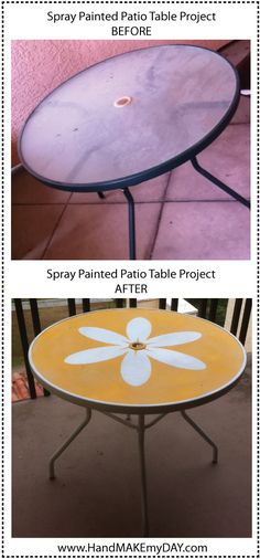 She Painted A Flower Power Outdoor Tea Table Furniture Projects, Home Projects, Diy Furniture, Outdoor Furniture, Patio Furniture Makeover, Furniture Repair, Painted Patio Table, Mesa Exterior, Outdoor Tables
