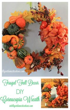 Repurpose you Fall decor into a fabulous Fall Wreath. This Cornucopia Wreath is made using the elements I used to stuff a Cornucopia. See the details and get ideas for your own fall decor. Diy Fall Wreath, Fall Diy, Fall Wreaths, Wreath Ideas, Crafts To Do, Fall Crafts, Diy Mugs, Thanksgiving Wreaths, Halloween Home Decor