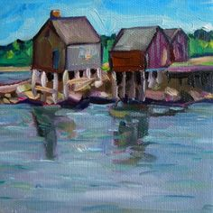 The Old Shacks at Willard Beach, painting by artist Elizabeth Fraser