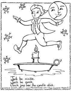 jack be nimble kids rhymes to colour free colouring pages