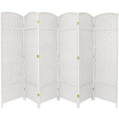 Oriental Furniture Tall Diamond Weave decor sale & deals Number of Panel, Finish:White 7 ft. Tall Diamond Weave Room Divider A lightweight but sturdy screen, extra tall and wide for larger space nee. Fabric Room Dividers, Wooden Room Dividers, Sliding Room Dividers, Floor Screen, Partition Screen, Partition Ideas, Bamboo Room Divider, 4 Panel Room Divider, Ikea Room Divider