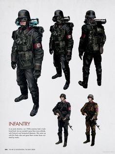 Nazi Black Guard from 1960 is all cool and well, but I like how Machinegames approached the problem of making a more futuristic, pulp-sci-fi version of Nazi soldiers for the 1946 period.   Guess Strasse isn't big on OSHA, judging they have to wear these giant lightning protectors.