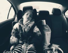 Natalia fell asleep on the way to Leyla's piano lesson. #gopro #monochrome #snapseed #kids