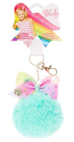 33646cacb645 JoJo Siwa Mint Pom Pom with Pastel Rainbow Bow Keychain