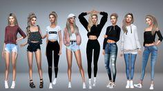Teen style look book Sims 3 Cc Clothes, Sims 4 Cc Shoes, Sims 4 Clothing, Sims 5, Sims 4 Cas, Pelo Sims, Sims 4 Dresses, Sims 4 Outfits, Sims 4 Cc Skin