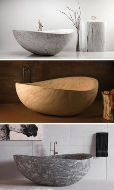 8 Stunning Examples Of Stone Bathtubs // The Papillon Bathtub in Marble, Sandstone and Granite by Stone Forest. Ideas Baños, Stone Bathtub, Marble Bathtub, Bathroom Toilet Paper Holders, Modern Bathtub, Contemporary Bathrooms, Elegant Curtains, Bathroom Toilets, Bathroom Sinks