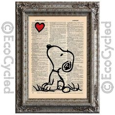 Special Popular Request Designs on Vintage Upcycled Dictionary Art Print, literary book lover gift, wall art print, wall decor gifts – Media Room İdeas 2020 Book Page Art, Book Pages, Book Art, Old Book Crafts, Paper Crafts, Newspaper Art, Snoopy Love, Dictionary Art, Upcycled Vintage