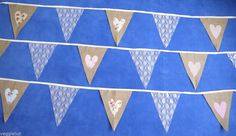 Hessian Burlap & Lace Bunting - 10ft - Fabric Hearts Shabby Rustic Vintage Chic