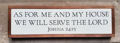 As For Me And My House Wall Art, Framed Bible Verse Art, Home Decor, Framed Wood Sign