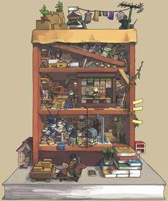 anime, book, and illustration image Environment Concept Art, Environment Design, Fantasy House, Fantasy Art, Bg Design, Isometric Art, Detail Art, Fantasy Landscape, Cute Art