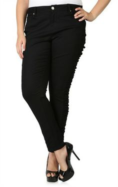 Plus Size Black Stretch Skinny Pant with Ruched Sides