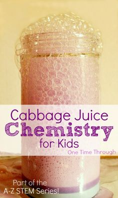 Colour-changing foamy eruption! HUGE WOW factor for kids! Cabbage Juice Chemistry for Kids - experiments, homemade litmus paper, colour changing chemical art and more! {One Time Through} #STEM Part of the A-Z STEM series: C is for Cabbage Juice Chemistry