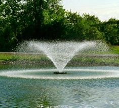 Kasco Aerating Fountains - Higher volume spray for more aeration then typical pond fountains. Great for aerating shallow ponds. Size them 1 HP per acre.