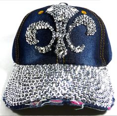 Denim Super Bling Fleur De Lis Rhinestone Baseball Cap Hat
