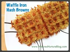 Make hash browns in your waffle iron! ~ 1. Wash and shred the potato. 2. Place shredded potatoes in a towel and squeeze the water out. (This is imperative for crispy hashbrowns!) 3. Put potatoes in a bowl and top with salt, pepper, and any seasonings you like. (I added some paprika and garlic powder.)  4. Spray the pre-heated waffle iron with cooking spray, and layer the potatoes on the iron, about 1/4 inch thick. 5. Close the lid and let them cook, checking on them after about 10-15 minutes...