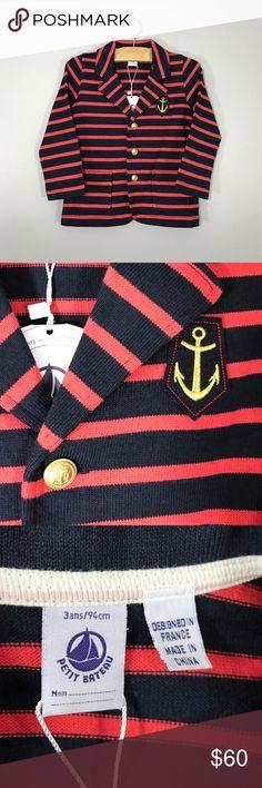 Petit Bateau girl's nautical stripe blazer 100% Cotton :: coral + navy blue nautical stripe :: gold embroidered anchor detail :: gold button closure :: new Petit Bateau Jackets & Coats Blazers