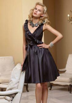 Mori Lee Affairs 181 Bridesmaid Dress - Ruffled V neckline - Cocktail length - Faux Wrap - Fabric:Taffeta #timelesstreasure