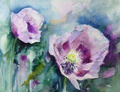 Rosenpark von Groß Siemen | Lila Mohn (c) Aquarell von Hanka Koebsch