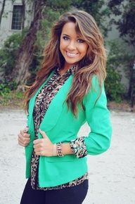 Love the cheetah print with the bright blazer.