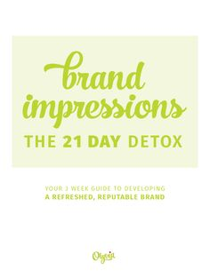 Brand Impressions: The 21 Day Detox ebook -- includes 21 daily guided lessons on cleaning up your blog and social media accounts, Facebook + Twitter cover templates, a brand color code PDF, + extra resource links to help you. BONUS: get a gorgeous, 7-page social media strategy document for you to fill out + use to build serious brand authority online, attract more followers, + finally get organized. AND: a designer-quality Brand Identity Board Template for use with Adobe Illustrator.