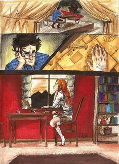 Harry Potter x Ginny Weasley I like watching you at Hogwarts. Arte Do Harry Potter, Harry Potter Comics, Harry Potter Drawings, Harry Potter Ships, Harry Potter Facts, Harry Potter Love, Harry Potter Universal, Harry Potter Fandom, Harry Potter World