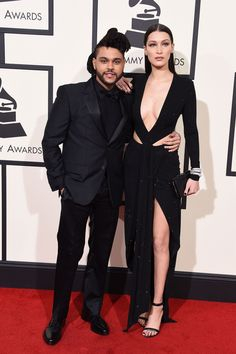 The Weeknd & Girlfriend Bella Hadid Hit Grammys 2016 Red Carpet!: Photo The Weeknd (whose real name is Abel Tesfaye) hits the red carpet at the 2016 Grammy Awards held at the Staples Center on Monday (February in Los Angeles. Celebrity Red Carpet, Celebrity Dresses, Celebrity Couples, Celebrity Style, Bella Hadid, Gigi Hadid, Grammy Awards 2016, V Instagram, Fashion Couple