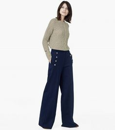 Mango Buttoned Flared Trousers