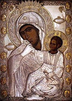 The miraculous Icon of Our Lady, Panagia Paramythia is to be found on the wall of the right hand choir in the chapel that bears the Icon'. Byzantine Icons, Byzantine Art, Religious Icons, Religious Art, Russian Icons, Madonna And Child, Orthodox Icons, Blessed Mother, Sacred Art
