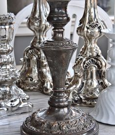These murder weapons would make excellent table centrepieces. Vintage Silver, Antique Silver, Silver Tea Set, Silver Candlesticks, Silver Plate, Silver Trays, Mercury Glass, Candelabra, Candle Holders