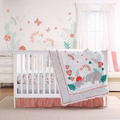 11 Piece Set Ellie Pretty Patch Pink//Grey Elephant Chevron Girl Crib Bedding