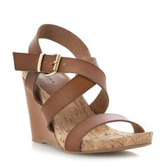DUNE LADIES GRAINNE - Cork Detail Wedge Sandal - tan | Dune Shoes Online