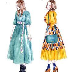 左の青いワンピースお気に入りだったんですが、ちょっとしか出てこなくて、こんな可愛い服が一瞬しか使われないなんて贅沢なドラマだなと思いました #校閲ガール #地味にスゴイ #河野悦子 #石原さとみ #ファッションガールズ #watercolor #art #draw #illustration #illust #illustrator #watercolor #art #draw #fashion #fashiongirls #miyamaayumi #ミヤマアユミ #イラスト #ファッションガールズ #水彩
