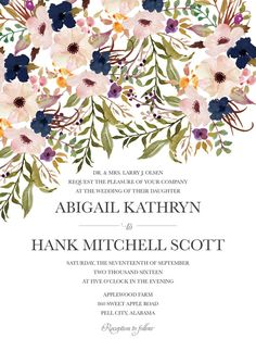 Rustic Wedding Invitation Blush and Navy Wedding by BettyLuPaperie