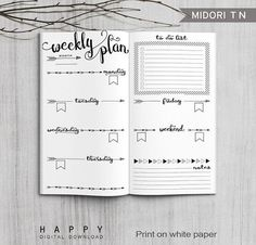 Printable weekly planner Midori weekly planner for the Bullet Journal. The post Printable Bullet Journal Weekly inserts, Midori Weekly Planner, Printable Midori Traveler& Notebook weekly planner inserts, PDF file appeared first on Trendy. Planner Bullet Journal, Bullet Journal Ideas Pages, Bullet Journal Spread, Bullet Journal Inspiration, Journal Pages, Journal Art, Bullet Journals, Bullet Journal Format, Bullet Journal Front Page