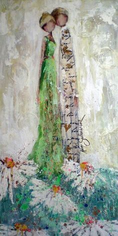 .impressionistic women / girls and flowers mixed media painting