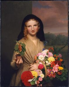 Charles Cromwell Ingham (American (born Ireland), 1786–1863). The Flower Girl, 1846. The Metropolitan Museum of Art, New York. Gift of William Church Osborn, 1902 (02.7.1) | Under her left arm, the flower girl carries a magnificent bouquet of flowers that he must have painted from life, but were beyond compare not only in contemporary still life painting but also on the streets of New York. #spring