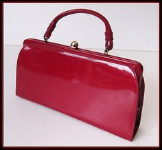 Vintage 60s Mid Century Modern Shiny Red Patent Leather Purse Hand Bag - NICE!