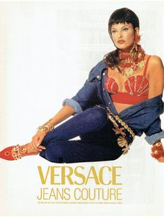 Items similar to 1992 Advertisement Versace Jeans Couture Linda Evangelista Super Model Supermodel Fashion Style Shell Bra Celebrity Wall Art Decor on Etsy Edgy Teen Fashion, 90s Fashion, Fashion Outfits, Runway Fashion, Womens Fashion, Revival Clothing, 90s Models, Vintage Versace, Linda Evangelista