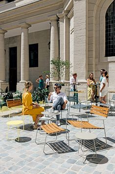 New to the Fermob Surprising range is a teak-seated version of the Suprising Low Armchair. Pictured at the Hotel Dieu, Lyon in Clay Grey and Frosted Lemon. Explore the options including all 24 colours online or visit our Auckland Showroom Outdoor Seating, Outdoor Spaces, Outdoor Decor, Contemporary Outdoor Furniture, Hotel Restaurant, Chill, French Brands, Garden Spaces, Garden Furniture